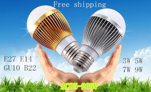 Free shipping Retail Dimmable Bubble Ball Bulb AC85-265V 3W/5W/7W/9W E27 High power Globe light LED Light(China (Mainland))