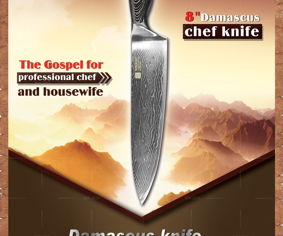 "Buy 8"" inches chef knife 73 layer Japanese VG10 Damascus steel kitchen knife High quality sharp chef knife wood handle free shipping cheap"