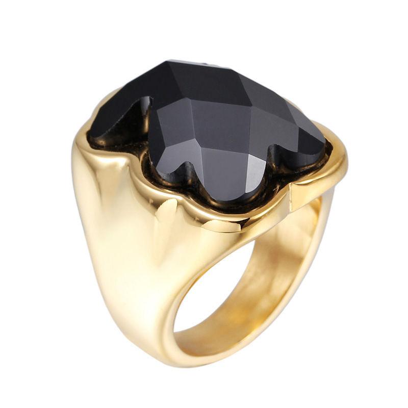 Black Grass Stone Crystal Luxury Women Girls 316L Stainless Titanium steel 18K Gold Sliver Plated Finger Bear Rings - WZW Fashion Store store