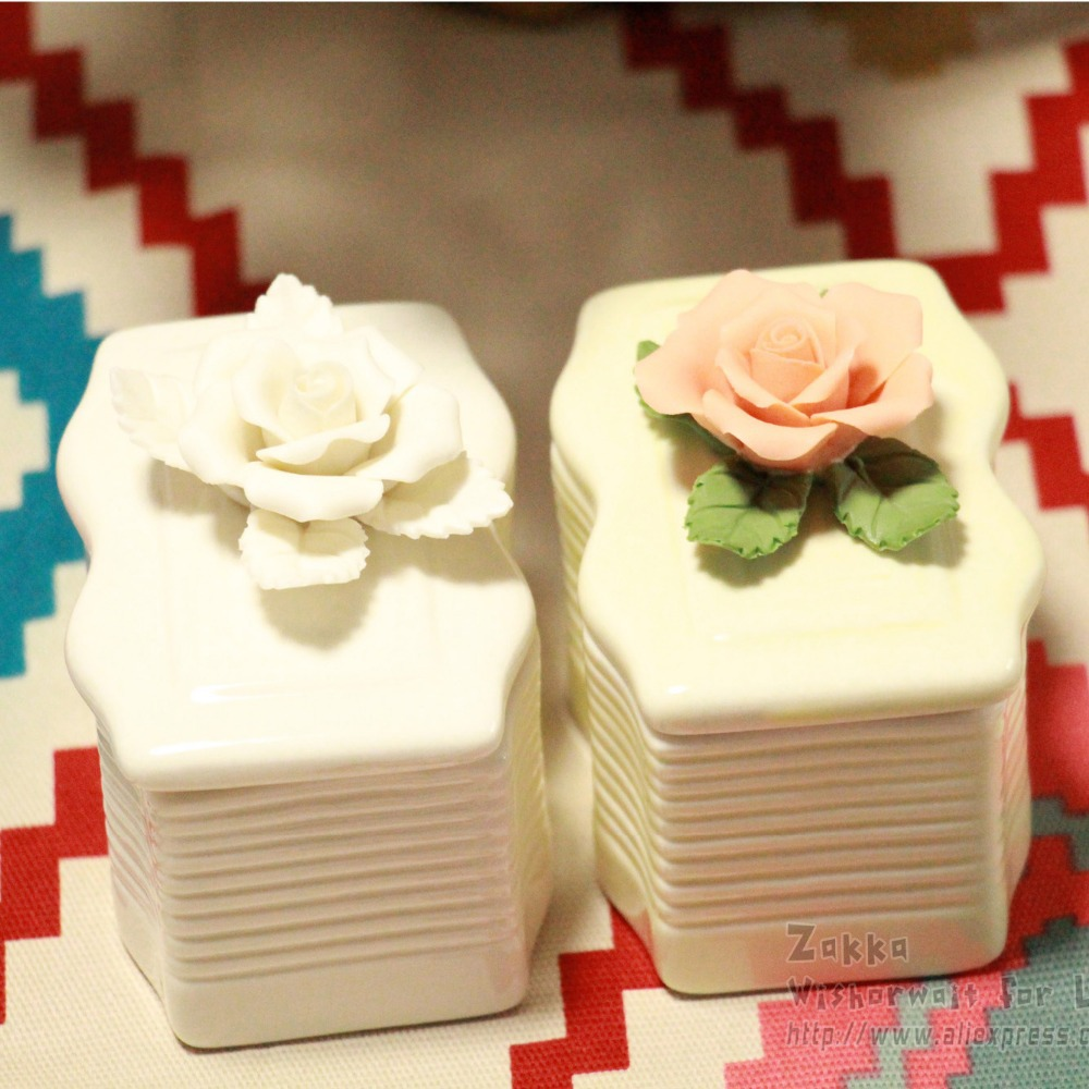 Free shipping New arrival IKEA Zakka 1Pcs flower carved ceramic jewelry boxes Cute girl gifts Bedroom decoration Debris box(China (Mainland))