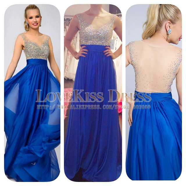 Long royal blue chiffon dress - Dress on sale