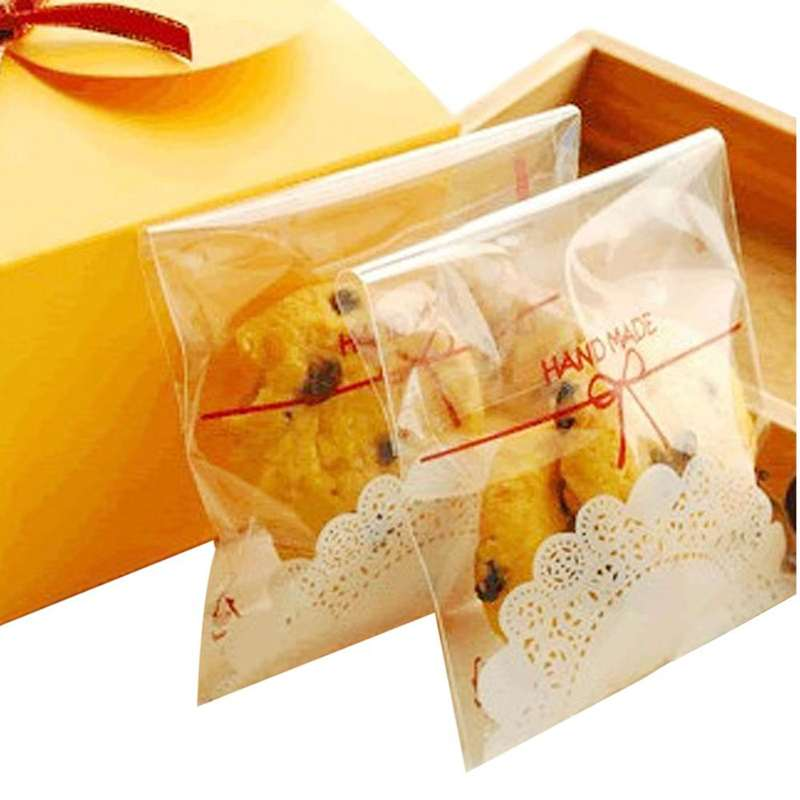 100pcs Handmade Lace Bakery Cookie Gift Favor Cello Soap Treat Self-Adhesive OPP Plastic Bag Wedding Party Birthday Cake Package(China (Mainland))