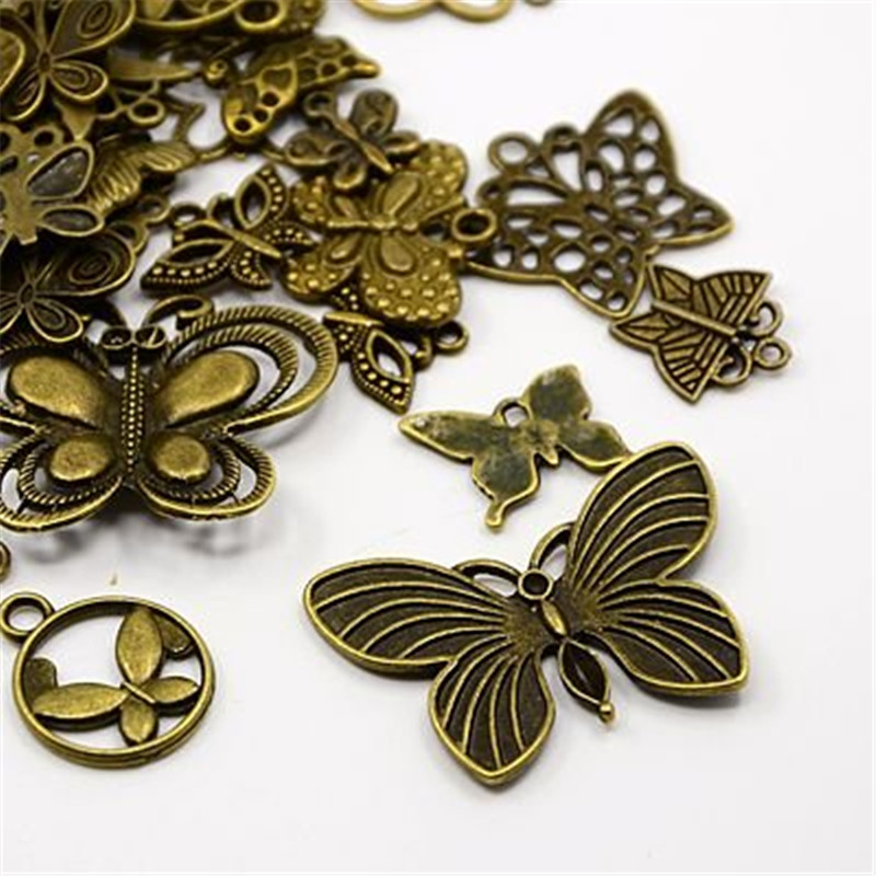 40pc Butterfly Charms, Pendants, Antique Bronze Mixed Style Hot Jewelry Finding(China (Mainland))