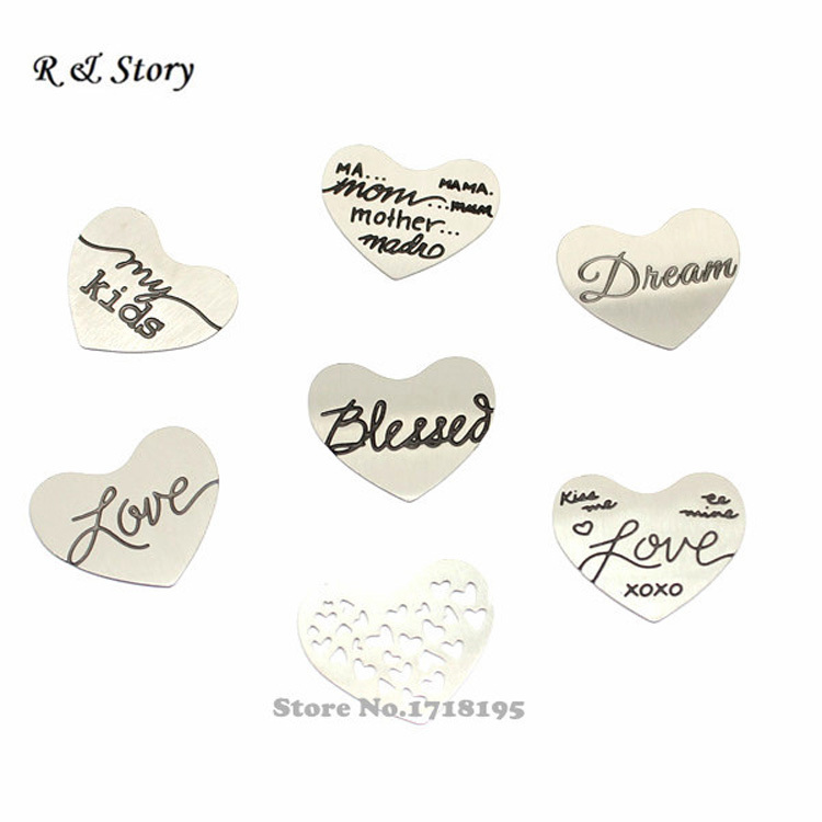 Free Shipping Silver Stainless Steel Floating Locket Plate for Regular Heart Locket (7 kinds, 7 pcs per kind) LFP_247(China (Mainland))