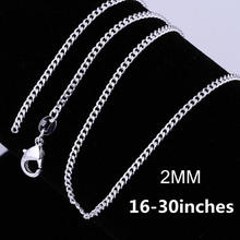 Buy 16-30 inches 2MM chain Necklace jewelry Free Popular Beautiful fashion women men silver plated charm pretty lovely for $1.28 in AliExpress store
