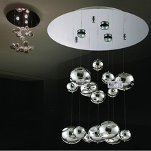 H40cm Murano Due Bubble Glass Ceiling light Chrome Lustres lamps Home Hanging Lamps Fixtures 110-240V GU10 LED ceiling lamp(China (Mainland))