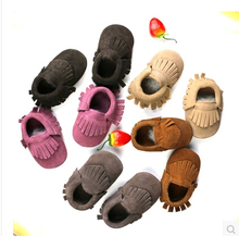 Genuine Cow Leather suede Baby Moccasins shoes bow Soft Moccs Baby Shoes Newborn firstwalker Anti-slip  Infant Shoes Footwear(China (Mainland))
