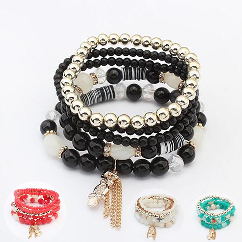 New Design Summer Style Fresh OWL Bracelet&Bangles Alloy Charm Elastic Bracelet Plastic Bead Multilayer Bracelets Fine Jewelry(China (Mainland))