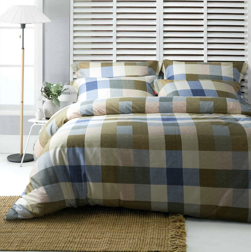 new design 100 cotton blue and green plaid comforter cover set for man queen king size 400tc in. Black Bedroom Furniture Sets. Home Design Ideas