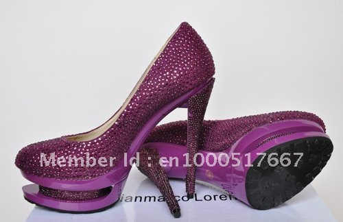 Purple Crystal Pump Shoes