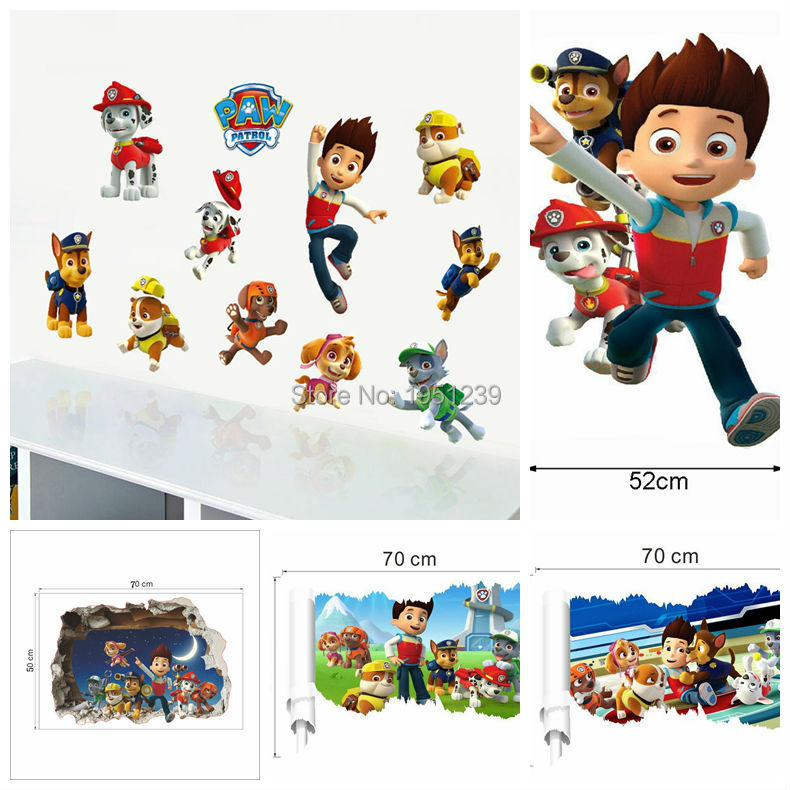 2016 3D Dogs Cartoon Wall Stickers Paws Patrols Wall Decals Adesivos De Paredes Animal Mural Creative DIY For Kids Rooms Decor(China (Mainland))