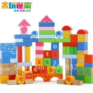 Eco BenHo  building wooden block Educational blocks 80pcs Sea Scenario building blocks