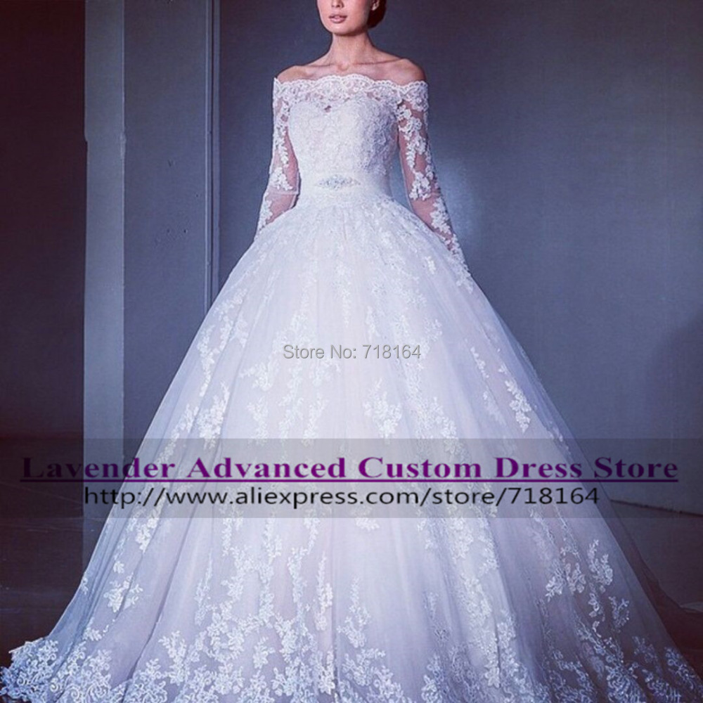 Romantic princess lace wedding dress with long sleeve 2016 for White or ivory wedding dress