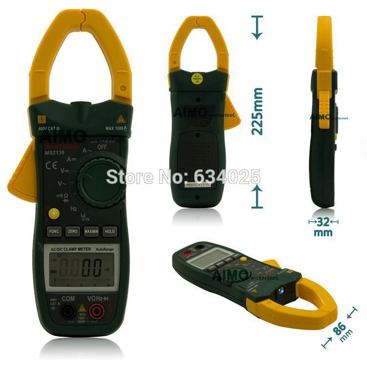 MASTECH MS2138 Digital 1000A AC DC Clamp Meter Multimeter 4000 Counts Electrical Current Voltage Tester with High Performance(China (Mainland))