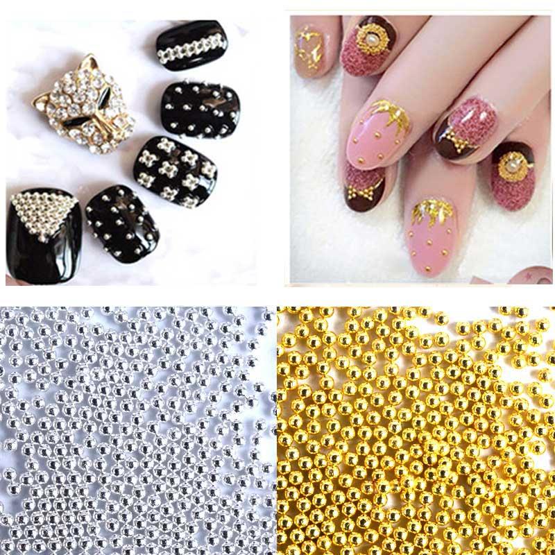 1pack Charm Gold Silver Metal 3D Caviar Beads Nail Art Rhinestone Decorations DIY Nail Accessories Tools(China (Mainland))