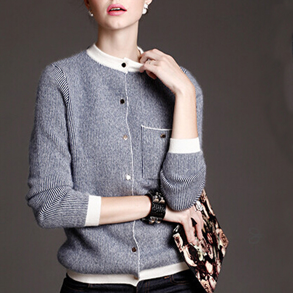 Fashion Trend Real Mink Wool Cardigan Sweater Women Hot selling natural cashmere blend sweater gold button FP732(China (Mainland))