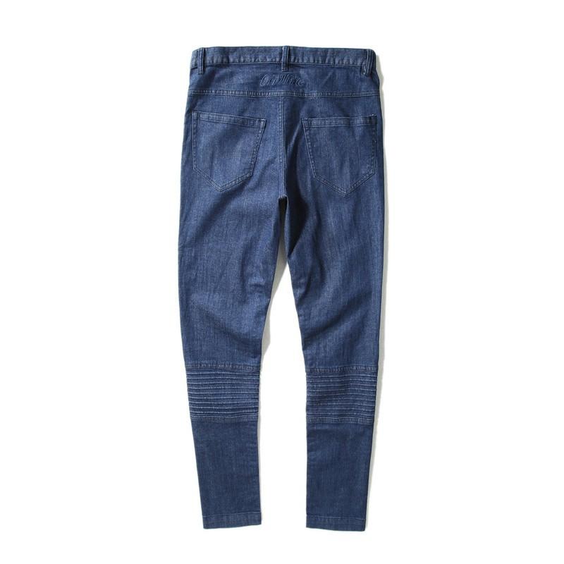 Скидки на 16ss грязно-белый мужские дизайнер Тонкий RUCHED черные джинсы