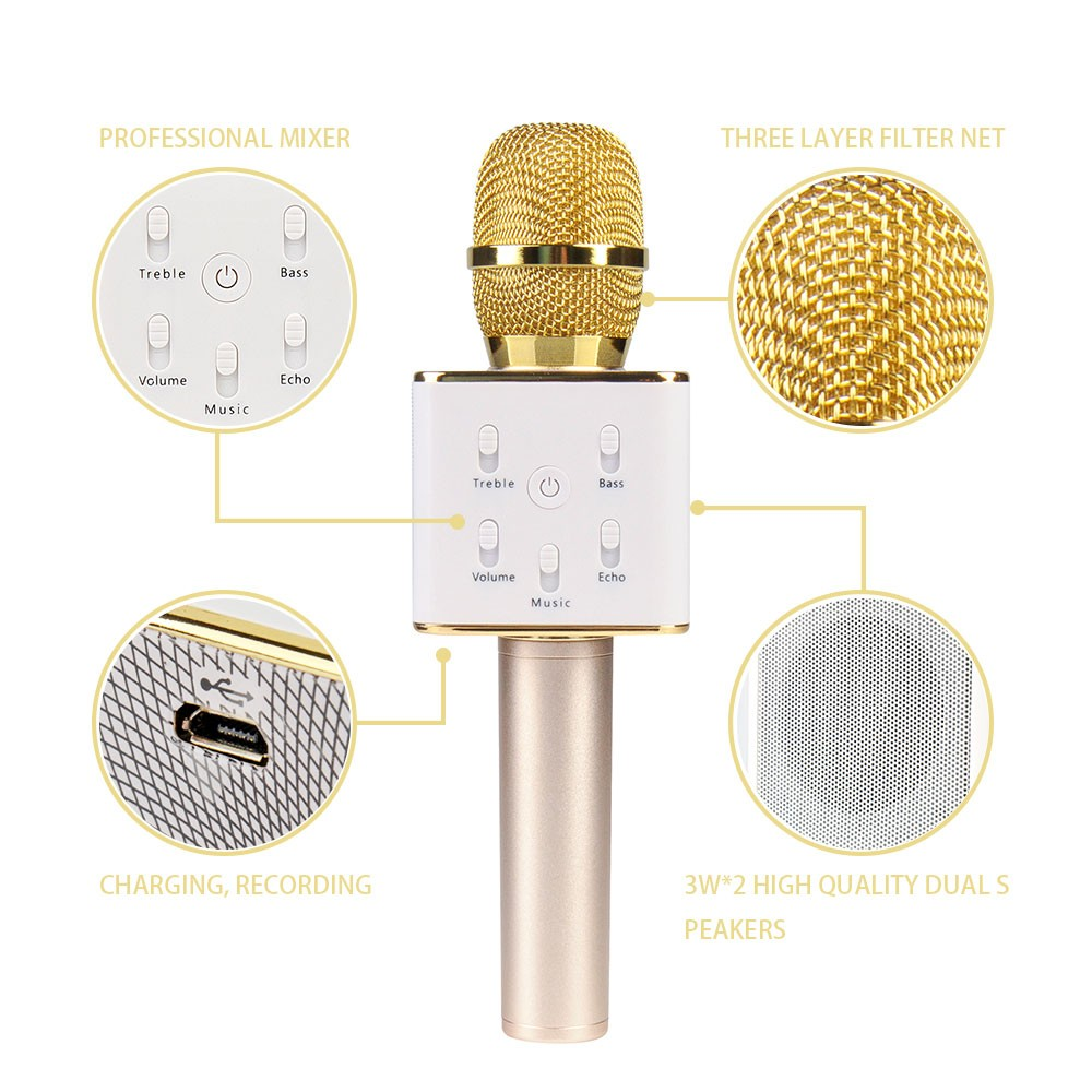 Free Shipping Hot Selling Wireless Karaoke Microphone Player Home KTV Bluetooth Condenser Mic Speaker Singing Record Q7 By Post