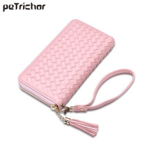 Buy 2017 New Weave Tassel Day Envelope Clutch Bag Braid PU Leather Brand Design Long Pink Wallet Women Female Fashion Purse Girl for $8.87 in AliExpress store