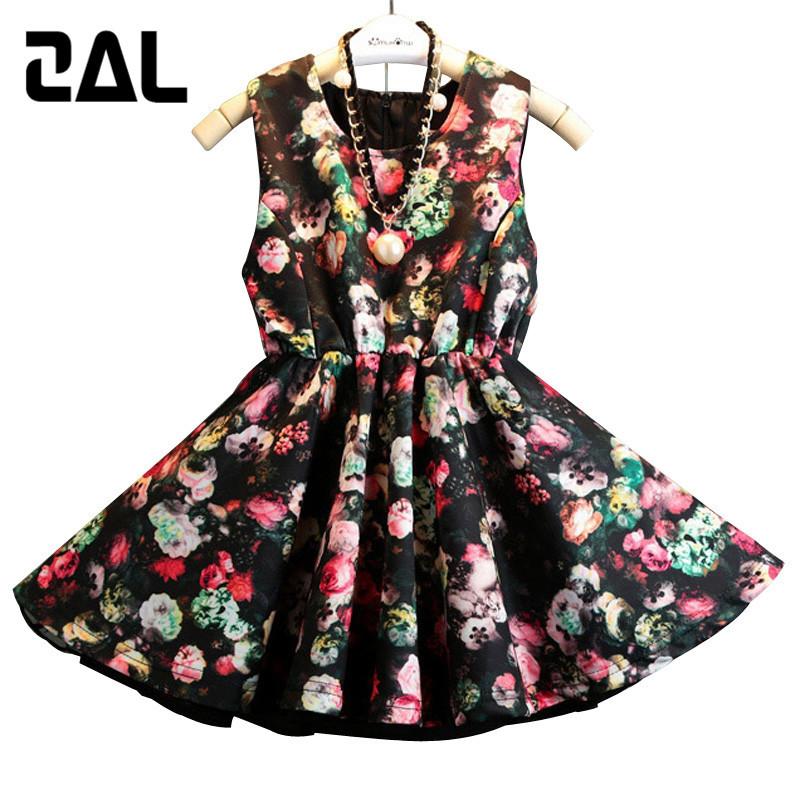 2015New Hot Print Color Girls Summer Dress Trendy  Korean Style Large Child Dresses Retro Design Children 100-150cm 3T-10T 55B<br><br>Aliexpress