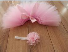 Newborn Baby Girl Pink Princess Tutu Set Photo Shoot Skirt Floral Headband Photography Prop Birthday Baby
