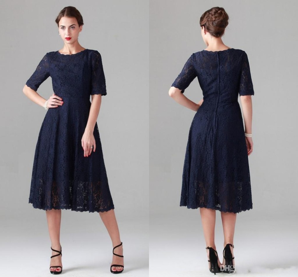 A line navy blue lace mother of the bride dresses vintage for Navy dresses for weddings