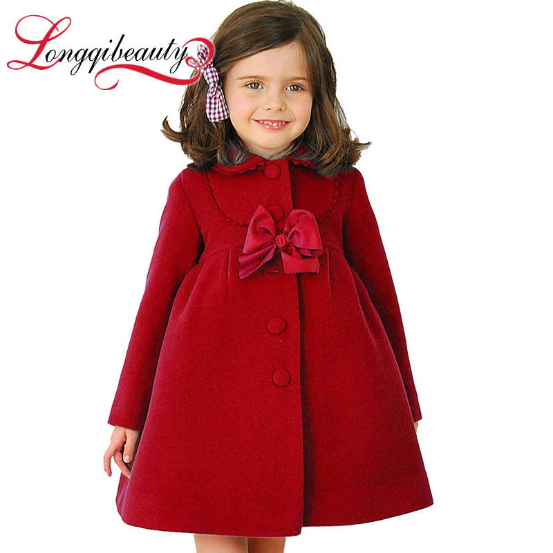 2015 Winter Fashion Baby Girls Long Jacket Children Warm Winter Clothes Girls Fleece Bow Long Coat Hot Selling<br><br>Aliexpress