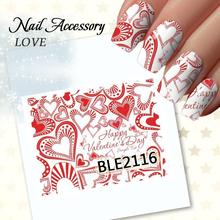 Sexy Lips Beauty Love Herat Watermark Transfers 3D Nail Stickers Decals Foil Nail Art Decorations Tools Accessories