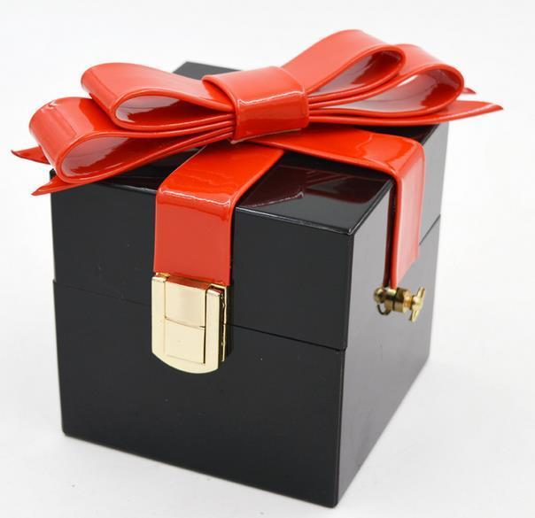 Новый Vintage fashion личность лук подарочная коробка Акриловые мини сумочка женская сумка цепь плечо сумка сумка 2 цвета