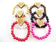 Free shipping Hip-Hop  goodwood heart  pendant   bracelet good wood bracelet  (24PCS/LOT)(China (Mainland))