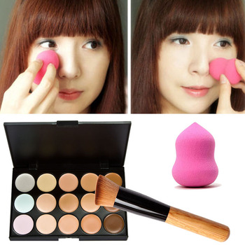 Free Shipping 15 Colors Cream Makeup Concealer Palette + Sponge Gourd Puff Powder Brush Best Price