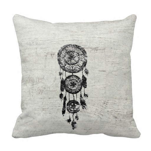 Ugly Hipster Lace Black Dreamcatcher On White Wood Pillow Case (Size: 45x45cm) Free Shipping