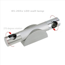 85-265v Led Wall Lamp 3w Hotel Restroom Bathroom Bedroom Bracket Light 270 degree Flexible rotation Warm/Cool/Blue(China (Mainland))