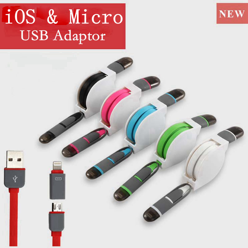 2in1 Mobile Phone Cable NO adapter For iPhone 5 5S 6 Charger ios Data Micro USB Cable For Samsung Galaxy S3 S4 S6 HTC Android(China (Mainland))