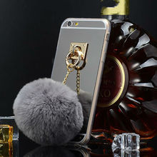 Fox Fur pompom furball chain Coque For Apple iPhone 5 mirror Case for iPhone 5 5s 6 6s Plus Phone Cover High Quatily funda capas
