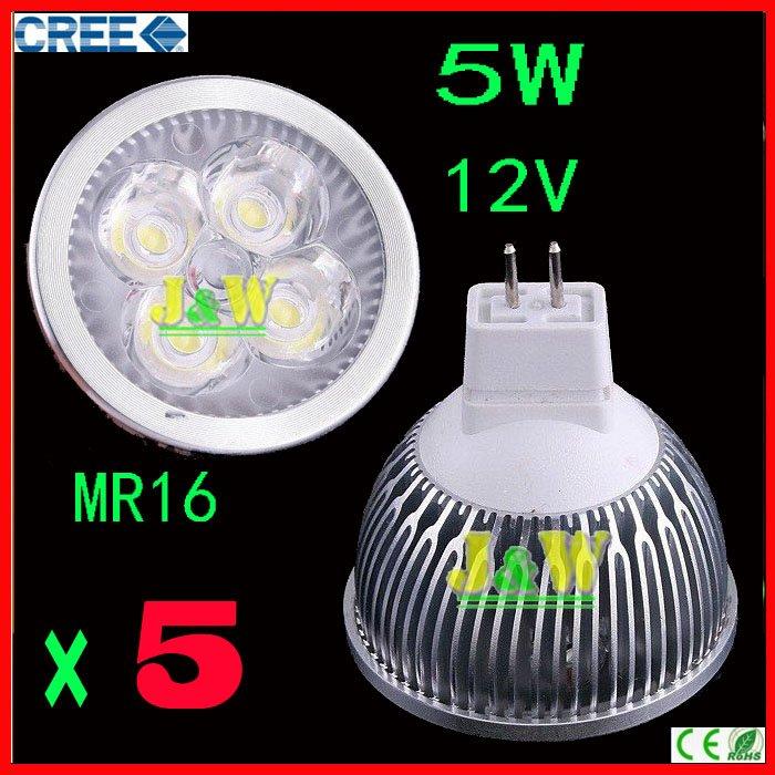Wholesale - - 5pcs/lot CREE 5W 12V Lamp MR16/GU10/E27 Led light Spotlight Dimmable equal to 50 halogen watts Free Shipping(China (Mainland))