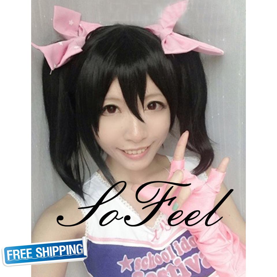 Anime Love Live! Love Live Yazawa Niko Nico 45CM Cosplay Wig Ponytails Black Hair Wigs Heat Resitance Fiber Free Shipping(China (Mainland))