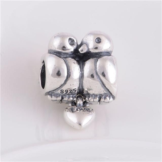 Подходит пандора оригинальный подвески браслеты 925 серебряные ювелирные изделия бусины безумно влюбленный птицы рисунок шарм DIY мода ювелирных изделий