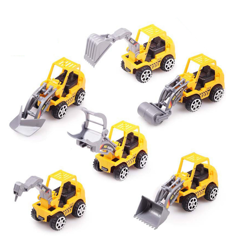Free Shipping 6pcs/Lot Yellow Color Toy Truck Models Mini Toys Construction Trucks For Kids juguete(China (Mainland))