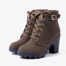Mcckle Plus Kích Thước Mắt Cá Chân Giày Bốt Nữ Đế Giày Cao Gót Giày Bốt Nữ Khóa Giày Gót Dày Boot Ngắn Nữ Thả vận Chuyển(China)