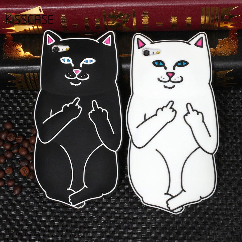 KISSCASE 3D Cute Cartoon Ripndipp Cat Silicone Case For iPhone SE 5 6 6s Plus Lovely Animals Pocket Kitten Cover For iPhone 5 5s(China (Mainland))