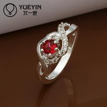 2014 wholesale 925 Silver ruby wedding Austrian Crystal CZ Simulated Diamonds ring new design for lady