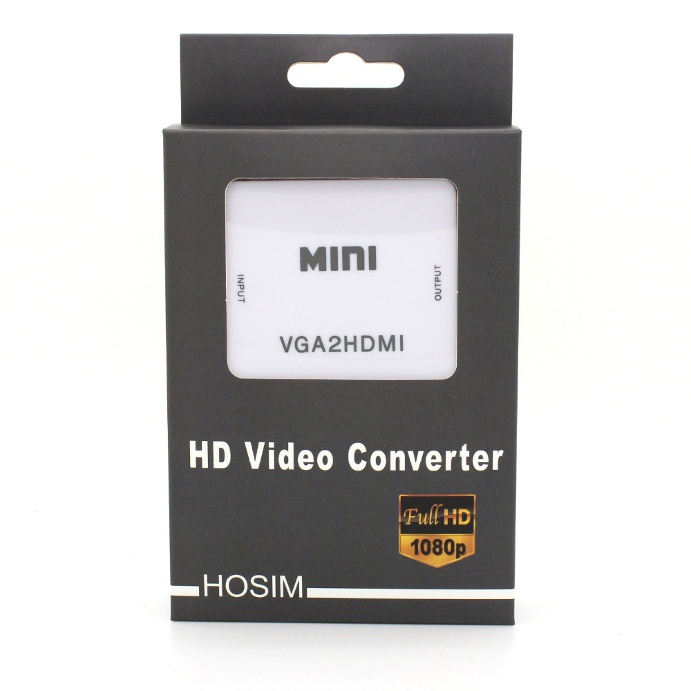 Hosim mini VGA to HDMI converter with audio for PC laptop to HDTV Projector in retail package(China (Mainland))