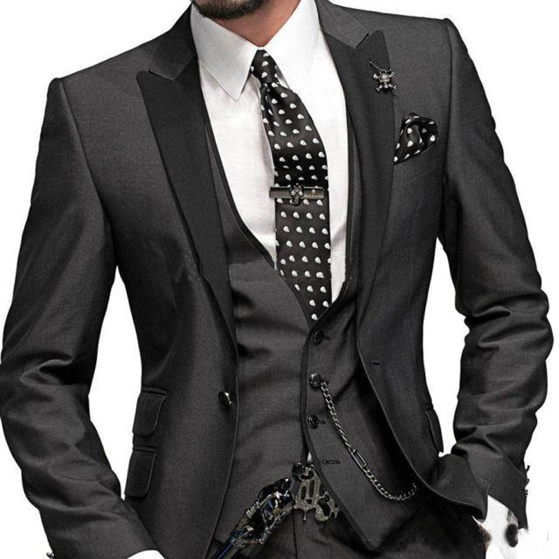 Custom Made to Measure Charcoal Grey Groom Tuxedos Tailored Wedding suits One Buttons Grey Groom Tuxedos Black Peak