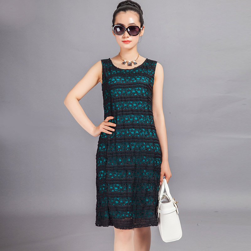 summer 2015 new dress lace sleeveless round collar fairy long cultivate one's morality - Sunshine is fine store