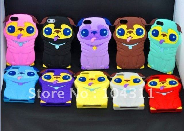 Cute cartoon silicone Pug case for iphone4g/5g