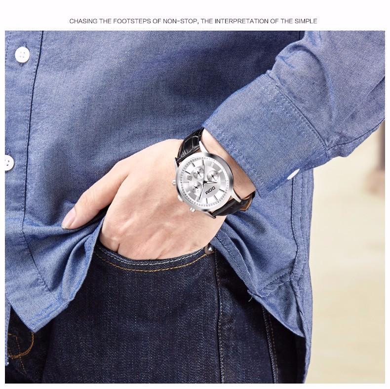 DOM 2016 Мужчины Простой Кварцевые Часы Водонепроницаемые Кожаный Большой Часы Повседневная Спорт Мужской Многофункциональный Часы Бесплатная Доставка