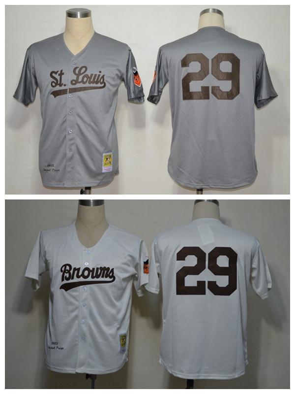 Mens St. Louis Browns 29 Satchel Paige Jersey White Throwback M&N Retro Stitched Baseball Jerseys Shirts Free Shipping Cheap(China (Mainland))