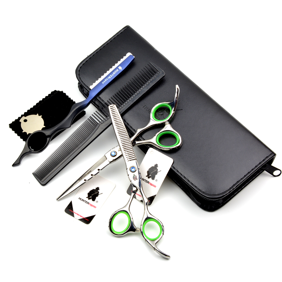 "80% OFF!! HUNTERrapoo Professional 6"" Hairdressing Scissors set Free Shipping Barber Shears Kit with razor knife comb thinner(China (Mainland))"