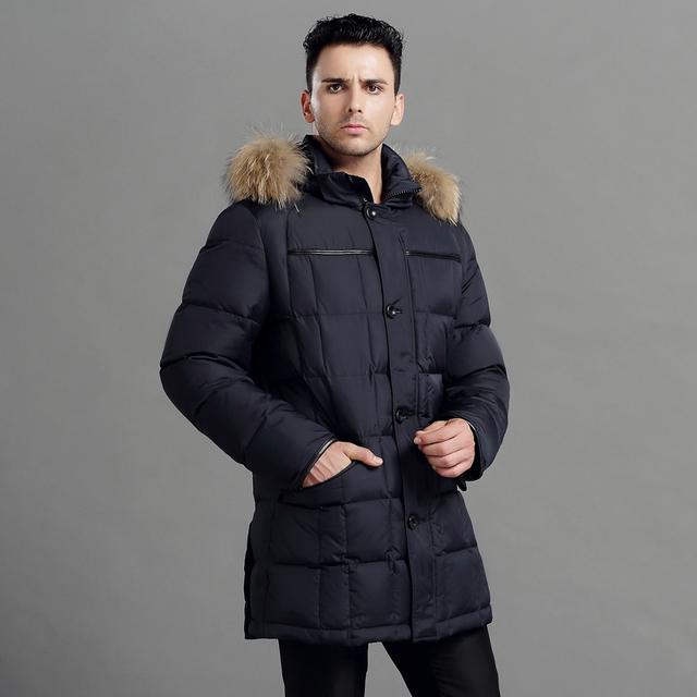CITY CLASS Men Thick Warm Winter Jacket Модный Повседневный Длинный Coat Белый Duck ...